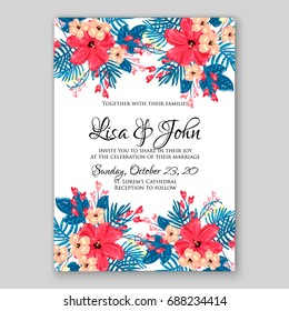 Tropical hibiscus floral wedding invitation vector card