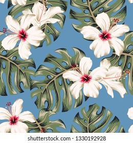 Tropical hibiscus flowers, monstera palm leaves bouquets, blue background. Vector seamless pattern. Jungle foliage illustration. Exotic plants. Summer beach floral design. Paradise nature