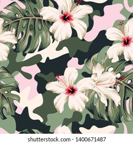 Tropical hibiscus flowers, monstera palm leaves bouquets, camouflage background. Vector seamless pattern. Jungle foliage illustration. Exotic plants. Summer beach floral design. Paradise nature