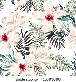 Tropical hibiscus flowers and palm leaves bouquets, white background. Vector seamless pattern. Jungle foliage illustration. Exotic plants. Summer beach floral design. Paradise nature