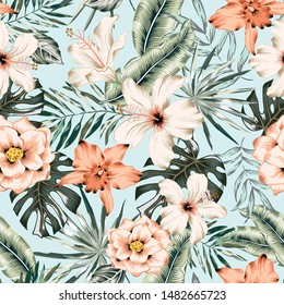 Tropical hibiscus, orchid, rose flowers, monstera, banana palm leaves background. Vector seamless pattern. Jungle foliage illustration. Exotic plants. Summer beach floral design. Paradise nature