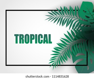 Tropical  holiday background . tropical leaves paper art style.  Design for your template,banners,flyers,posters, brochure. Vector.