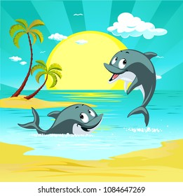 Tropical holiday destination landscape with cute dolphin character playing and ocean vector illustration