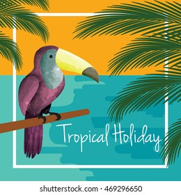 Tropical holiday vector. Tropical beach with toucan bird and palm tree leaves background.