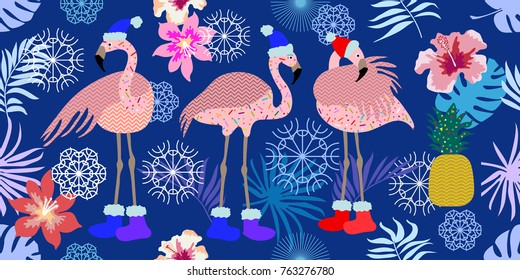 Tropical holiday. Wide panoramic seamless pattern with flamingos, pineapple, flowers, snowflakes and winter landscape. Design for Christmas cards, party invitations, textile.