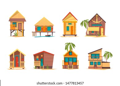 Tropical houses. Bungalow beach buildings island home for summer vacation vector flat pictures collection