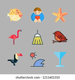 tropical icon set. vector set about cocktail, flamingo, starfish and puffer fish icons set.