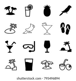 Tropical icons. set of 16 editable filled and outline tropical icons such as parrot, cocktail, cocktail, palm, drink, pineapple, island, flip flops, aqualung