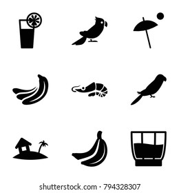 Tropical icons. set of 9 editable filled tropical icons such as banana, parrot, cocktail, home on island, drink, umbrella
