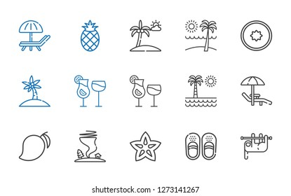 tropical icons set. Collection of tropical with sloth, sandals, carambola, tornado, mango, sunbed, beach, cocktails, palm tree, kiwi, pineapple. Editable and scalable tropical icons.