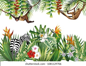 Tropical illustration with flowers jungle plants animal monkey and zebra. Vector composition