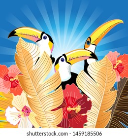 Tropical illustration with palm leaves and toucans on a blue background. Design template for tourism or nature conservation.