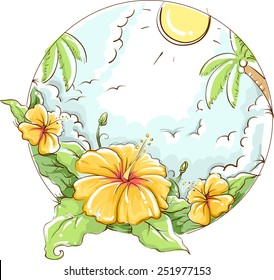 Tropical Illustration of a Yellow Hibiscus Bathing Under the Sun