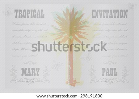 Tropical Invitation Template Wedding Engagement Other Stock Vector