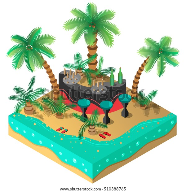 Amazing Tropical Island Bar Palm Trees Sandals Stock Vector Royalty Free Birthday Cards Printable Trancafe Filternl