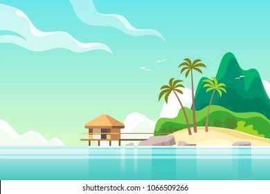 Tropical island with bungalow on the beach. Summer vacation. Vector illustration.