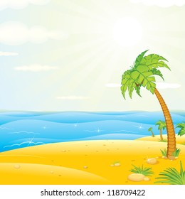 Tropical Island. Colorful Vector Illustration.