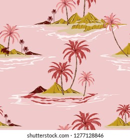 Tropical island hand drawing style sweet mood Vintage Seamless pattern vector illustration Colorful Summer design for fashion ,fabric,wallpaper,web and all prints on light pink  background color