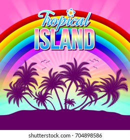 Tropical island illustration with palm trees, rainbow and sunset or sunrise in the background.