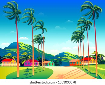 Tropical Island landscape with traditional houses, palm trees,   and the mountains in the background. Handmade drawing vector illustration. Retro style poster.