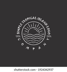 Tropical island line logo design. sun and sea line art logo design template