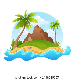 Tropical island with mountain and palm trees isolated on white background. Cartoon uninhabited island surrounded by water. Vector illustration.