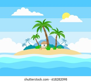 tropical island in the ocean with palm trees and bungalow  flat style illustration