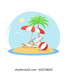 Tropical island with palm tree decked umbrella beach ball and starfish. Island is surrounded by water. Flat vector illustration