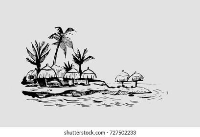Tropical island with palm trees and bungalow. Hand drawn sketch. Vector illustration.