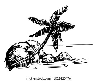 Tropical island with palm trees. Hand drawn sketch. Vector illustration.
