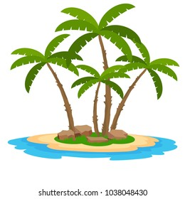 Tropical island with palm trees, sand and water. Flat design, vector.