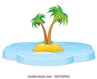 Tropical island with Palm. Vector Seascape