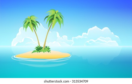 Tropical Island with palms under blue sky, Vector Nature Landscape Illustration