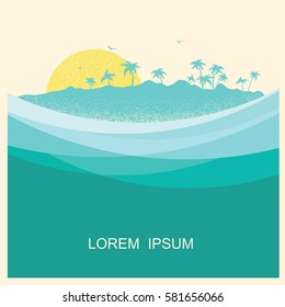 tropical island with palms.Vector vintage style poster with blue sea waves background for text