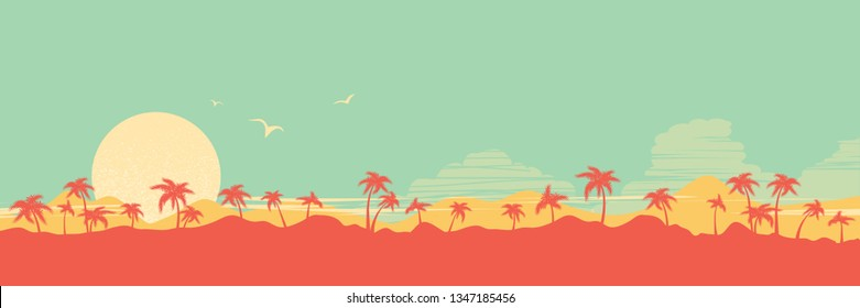 Tropical island paradise background with palms silhouette and sky illustration