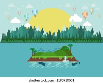 Tropical island. paradise ocean landscape. balloon and  blue sea