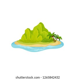 Tropical island surrounded by water. Green mountain and palm trees. Natural landscape. Flat vector design