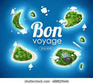 tropical island top view sea blue ocean bon voyage place for text