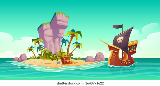 Tropical island with treasure chest and pirate ship in ocean. Vector cartoon illustration of sea landscape with wooden ship with skull on black sails, uninhabited island and gold coins on sand beach