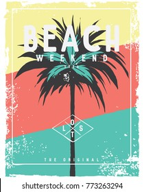 tropical island and vector illustration graphic for t shirt print
