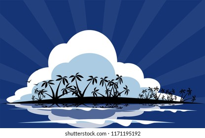 Tropical Island Vector silhouette for vacation or holiday poster vector