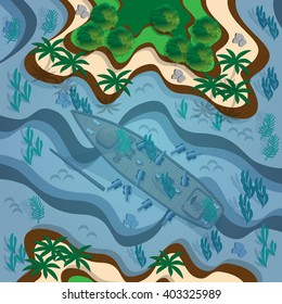 Tropical islands and sunken ship. View from above. Vector illustration. Applique with realistic shadows.