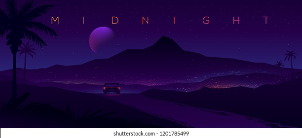 Tropical journey. Car rides towards the city. Night landscape with silhouettes of mountains and sky with stars.