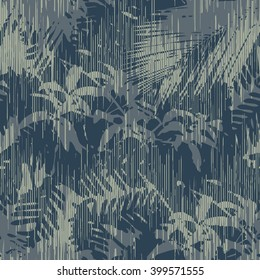 Tropical jungle foliage pattern seamless vector background tile