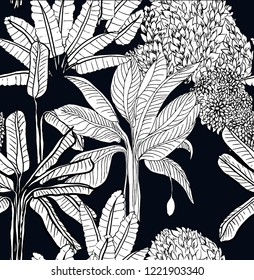 Tropical Jungle Forest Vintage Botanical Palm Trees Wild Life India Banana Tree Floral Seamless Pattern Outlines on Black Background