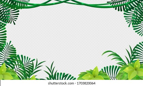 Tropical jungle frame with leaves isolated on white background for your text