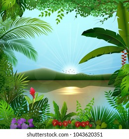 Tropical jungle landscape with river and mountains