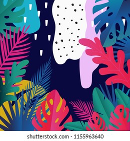 Tropical jungle leaves background. Colorful tropical poster design. Exotic leaves, plants and branches art print. Wallpaper, fabric, textile, wrapping paper vector illustration design