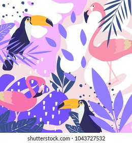 Tropical jungle leaves background with flamingos and toucans. Summer vector illustration design. Flamingo and toucan background. Exotic background poster. Tropical leaves art print