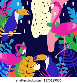 Tropical jungle leaves background with flamingos and toucans. Colorful tropical poster design. Exotic leaves, plants and branches art print. Wallpaper, fabric, textile vector illustration design